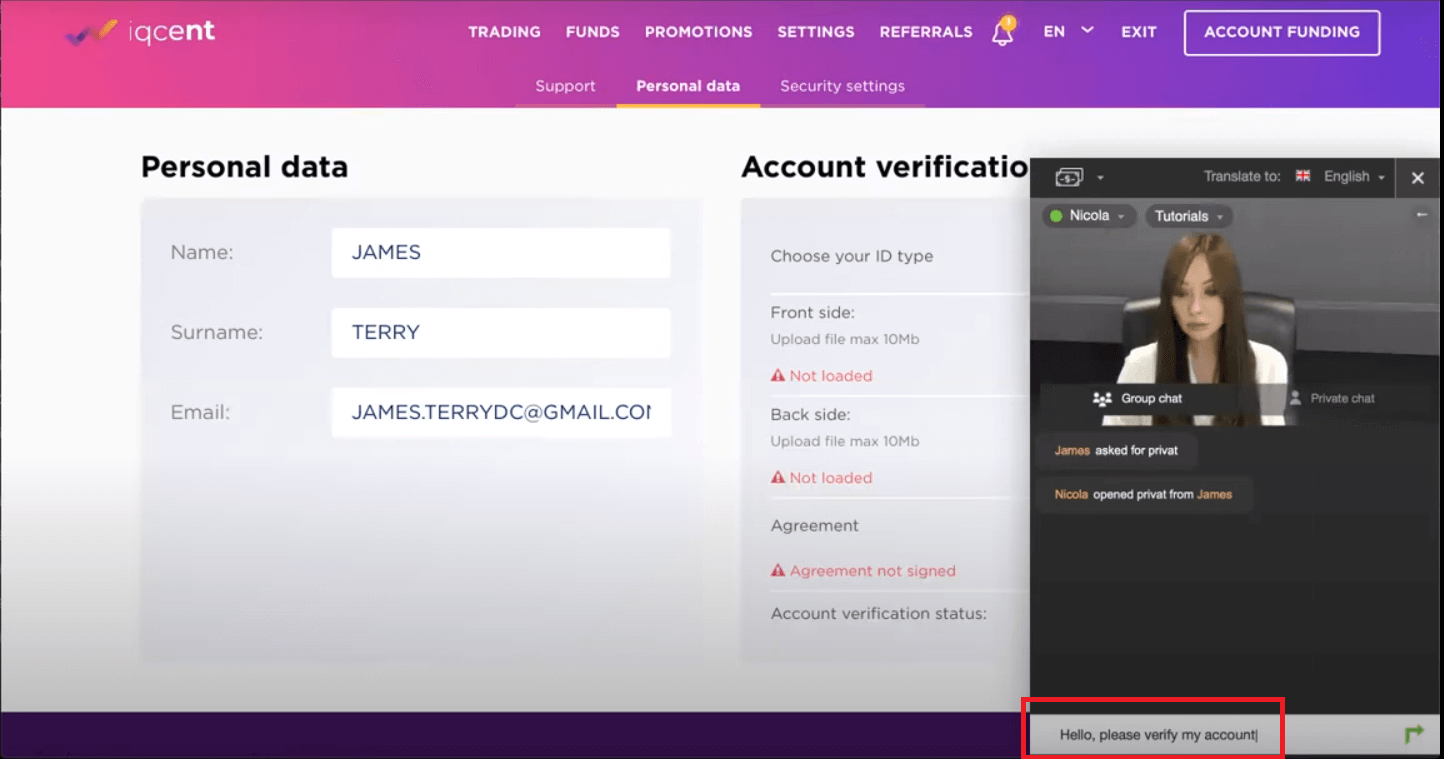 How to Verify IQcent Account